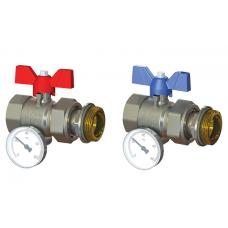 """Zawór kulowy prosty 1"""" z półśrubunkiem i termometrem do rozdzielacza (2szt)"""