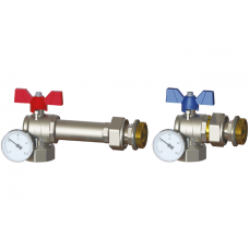 """Zawór kulowy dystansowy 1"""" z półśrubunkiem i termometrem do rozdzielacza (2szt)"""