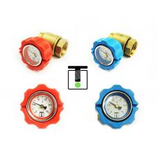 """Zestaw zaworów kulowych 1"""" z termometrami i półśrubunkiem - niebieski + czerwony"""